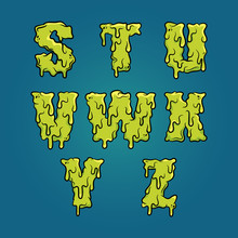 Vector Slimy Letters. Set 4 Of 4