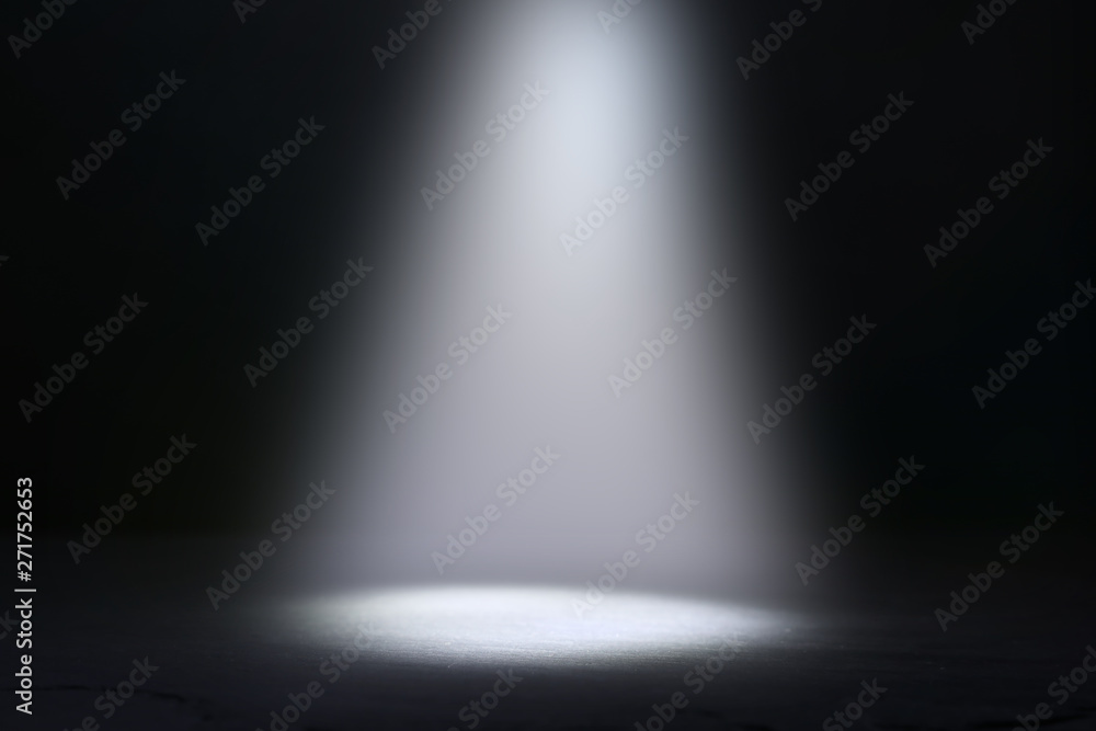 Fototapety, obrazy: abstract dark concentrate floor scene with mist or fog, spotlight and display