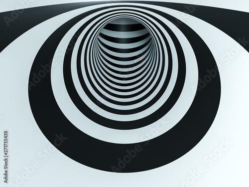 Naklejka premium złudzenie optyczne czarno-biały tunel