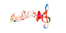 Colorful G-clef With Gramopho...