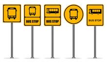 Set Of Yellow Bus Stop Signs Vector ESP10