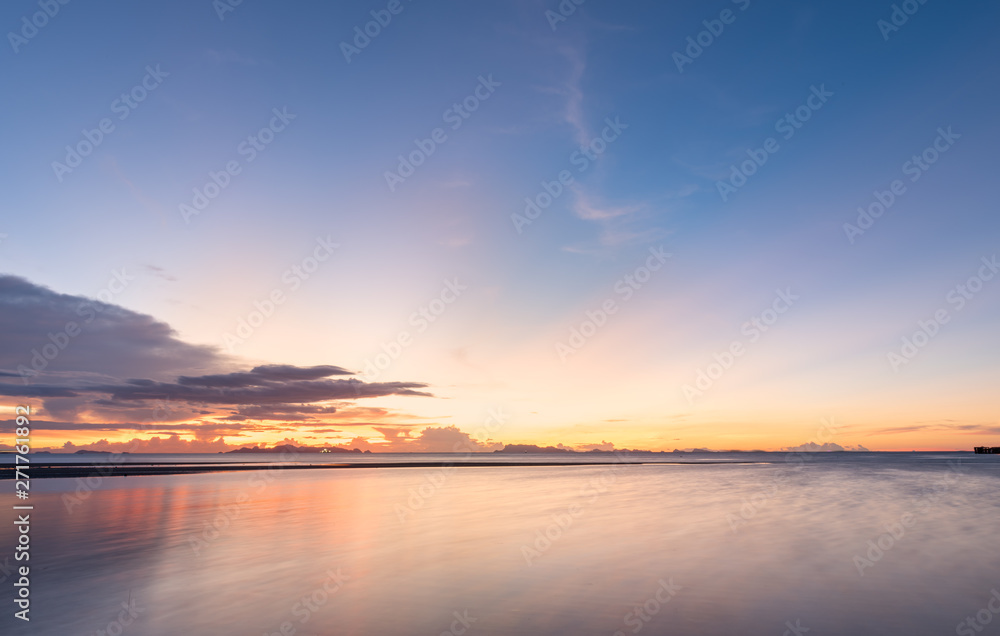 Fototapety, obrazy: Panoramic dramatic blue sea sky sunset with golden light background,long exposure