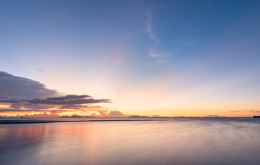 Panoramic dramatic blue sea sky sunset with golden light background,long exposure