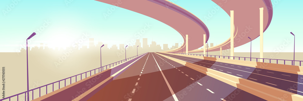 Fototapeta Empty two-lane speed highway, modern freeway with median barrier, overpass or bridge in above going to metropolis on horizon cartoon vector. City transport network infrastructure element illustration