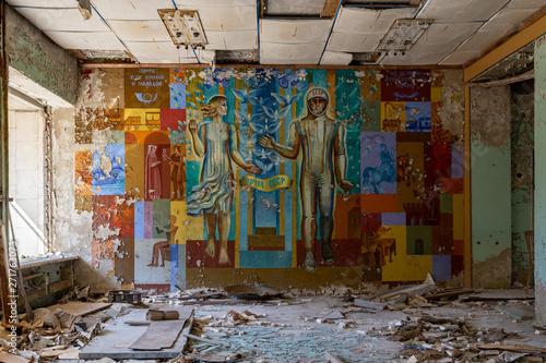 Fotografie, Obraz  Mural in abandoned Postal Office, Chernobyl, Pripyat