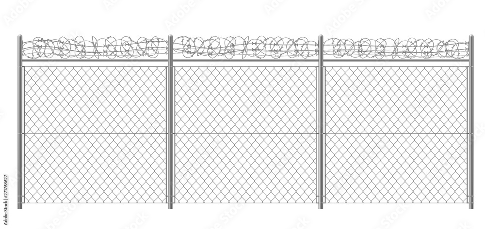 Fototapeta Chain-link, rabitz fence fragment with metallic pillars and barbed or razor wire 3d realistic vector illustration isolated on white background. Secured territory, protected area or prison fencing