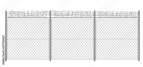 Chain-link, rabitz fence fragment with metallic pillars and barbed or razor wire 3d realistic vector illustration isolated on white background Fototapet