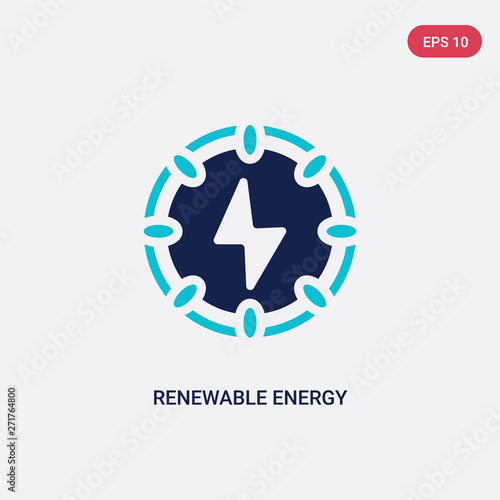 two color renewable energy vector icon from ecology concept