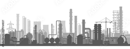 Fotografia  Stock vector background of an industrial zone with chemical factories, plants, i