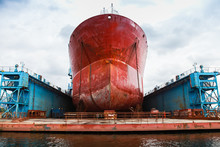 Huge Red Tanker Is In Floating Dock