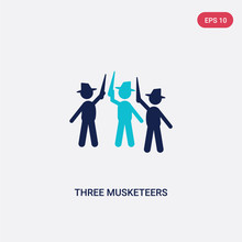 Two Color Three Musketeers Vector Icon From Literature Concept. Isolated Blue Three Musketeers Vector Sign Symbol Can Be Use For Web, Mobile And Logo. Eps 10