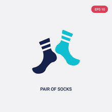 Two Color Pair Of Socks Vector...