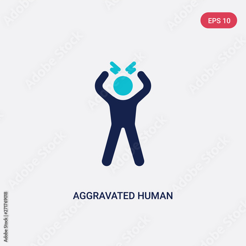 two color aggravated human vector icon from feelings concept Canvas Print
