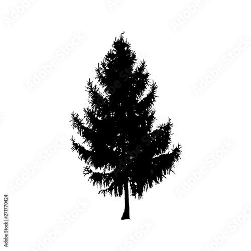 фотография  Silhouette of pine tree. Hand made.