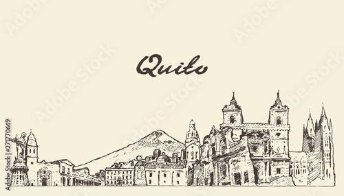 Cuadros en Lienzo Quito skyline Ecuador hand drawn vector sketch
