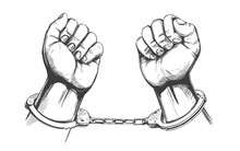 Handcuffed Hands Icon Hand Drawn Vector Illustration Sketch