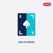 Two Color King Of Spades Vector Icon From Gaming Concept. Isolated Blue King Of Spades Vector Sign Symbol Can Be Use For Web, Mobile And Logo. Eps 10