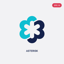 Two Color Asterisk Vector Icon From Geometry Concept. Isolated Blue Asterisk Vector Sign Symbol Can Be Use For Web, Mobile And Logo. Eps 10