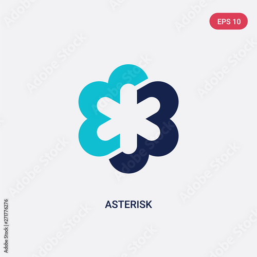 two color asterisk vector icon from geometry concept Wallpaper Mural