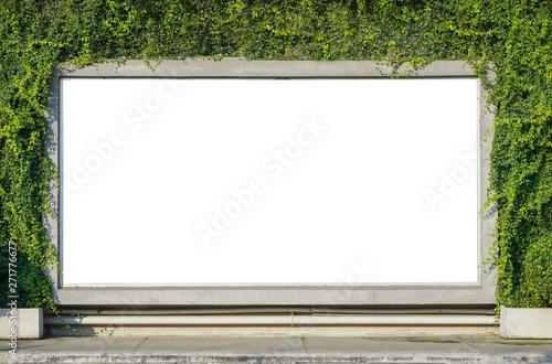 Obraz White billboard on spring summer green leaves background - fototapety do salonu
