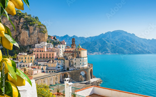 Small city Atrani on Amalfi Coast in province of Salerno, in Campania region of Italy