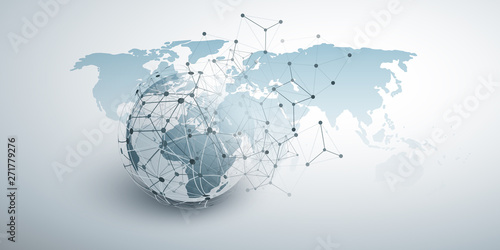 Obraz Cloud Computing and Global Networks Concept Design with Earth Globe and Geometric Network Mesh  - fototapety do salonu