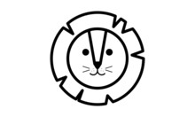 Vector Lion Icon. Round Line A...