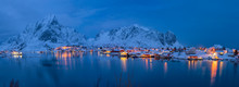 Panoramic Of Reine Fishing Village At Night In Winter, Reinefjord, Moskenesoya, Lofoten, Arctic
