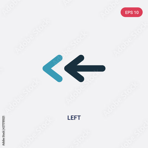 two color left vector icon from interface concept. isolated blue left vector sign symbol can be use for web, mobile and logo. eps 10 Wall mural