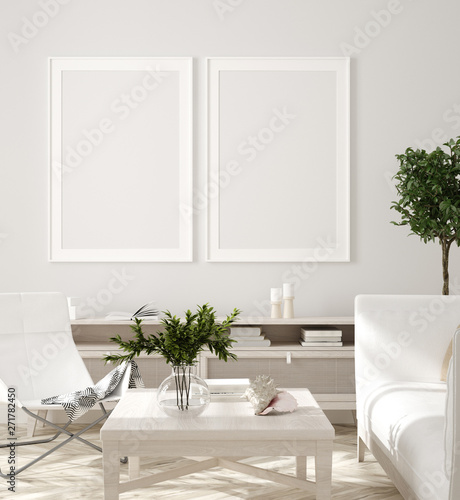 Poster, wall mockup in beige interior with white sofa, wooden table and plants, Scandinavian style, 3d render - 271782450