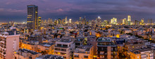 Elevated View Of Tel Aviv Skyline At Dusk, Jaffa Visible In The Background, Tel Aviv, Israel
