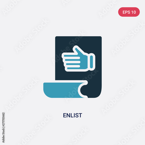 two color enlist vector icon from miscellaneous concept Canvas Print