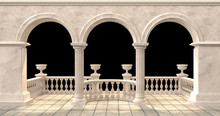 Arched Balcony With Balustrade And Flower Vases On Black Background-Illustation 3d Rendering