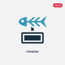 Two Color Fishbone Vector Icon From Museum Concept. Isolated Blue Fishbone Vector Sign Symbol Can Be Use For Web, Mobile And Logo. Eps 10