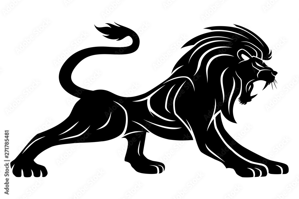 Fototapeta Black lion sign on a white background.