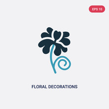 Two Color Floral Decorations Vector Icon From Nature Concept. Isolated Blue Floral Decorations Vector Sign Symbol Can Be Use For Web, Mobile And Logo. Eps 10
