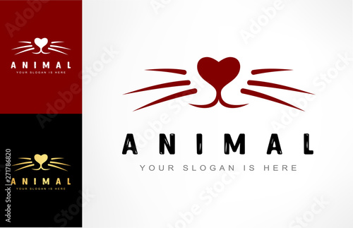Photo Animal logo. Nose and whiskers vector. Pet muzzle.