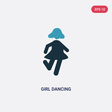 Two Color Girl Dancing Vector Icon From People Concept. Isolated Blue Girl Dancing Vector Sign Symbol Can Be Use For Web, Mobile And Logo. Eps 10