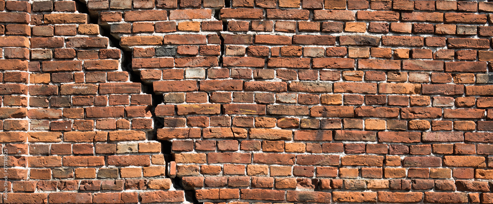 Fototapety, obrazy: Red brick wall texture for background, Old red brick wall damaged background