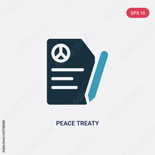 Fotografía  two color peace treaty vector icon from political concept