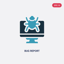 Two Color Bug Report Vector Icon From Programming Concept. Isolated Blue Bug Report Vector Sign Symbol Can Be Use For Web, Mobile And Logo. Eps 10