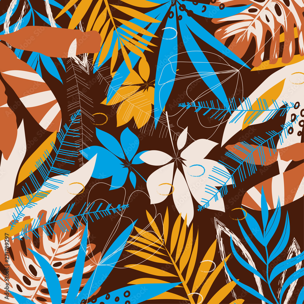 Bright abstract pattern with tropical leaves and plants on a Burgundy geometric background. Vector design. Jungle print. Textiles and printing. Floral background.