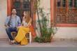 Couple sitting in beautiful Moroccan riad