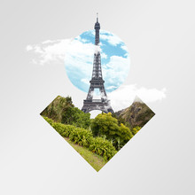 Eiffel Tower, Forest And Meadow On Grey Background. Concept Of Interaction Of City Sights Or Showplaces With The Nature Objects. Negative Space. Modern Design. Contemporary And Creative Art Collage.
