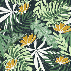 Fototapeta Do baru Seamless pattern with tropical leaves and flowers on a dark background. Vector design. Jungle print. Textiles and printing. Floral background.