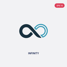 Two Color Infinity Vector Icon From Signs Concept. Isolated Blue Infinity Vector Sign Symbol Can Be Use For Web, Mobile And Logo. Eps 10