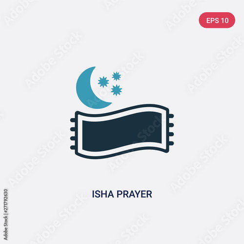 two color isha prayer vector icon from signs concept  isolated blue