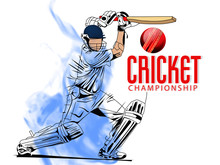 Illustration Of Cricket Player ,Creative Poster Or Banner Design With Background For Cricket Championship Poster