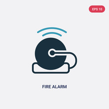 Two Color Fire Alarm Vector Icon From Smart House Concept. Isolated Blue Fire Alarm Vector Sign Symbol Can Be Use For Web, Mobile And Logo. Eps 10