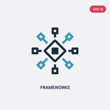 Two Color Frameworks Vector Icon From Technology Concept. Isolated Blue Frameworks Vector Sign Symbol Can Be Use For Web, Mobile And Logo. Eps 10